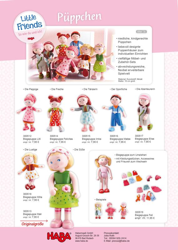 Haba Little Friends Biegepuppe Feli 300519 für Puppenhaus